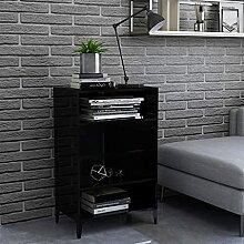 FAMIROSA Buffet Noir Brillant 57x35x90 cm