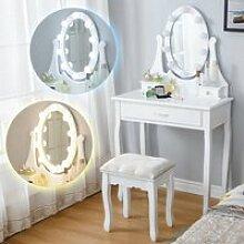 FAN Coiffeuse avec Miroir à Lumières LED et
