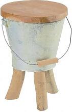 FARMER - Tabouret en bois et zinc