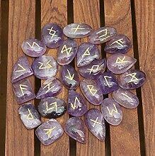 FASHIONZAADI Natural Amethyst Runes Stones Set