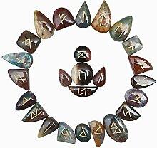 FASHIONZAADI Natural Bloodstone Runes Stones Set