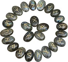 FASHIONZAADI Natural Labradorite Runes Stones Set
