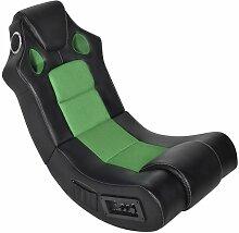 fauteuil à bascule à enceinte noir et vert
