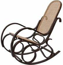 Fauteuil à bascule rocking chair couleur noyer