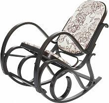 Fauteuil à bascule rocking chair en bois et tissu