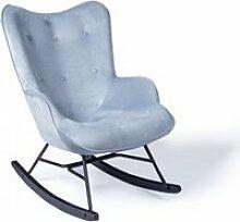 Fauteuil à bascule rocky velour gris bleuté