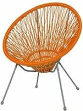 Fauteuil acier/rotin orange 2 - komodo - l 73 x l