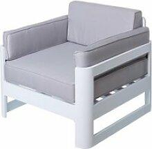 Fauteuil aluminium blanc/gris - nuku - l 80 x l 80