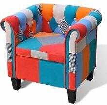Fauteuil avec design de patchwork Tissu Fauteuil