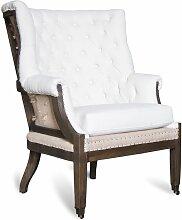 Fauteuil baroque en tissu beige