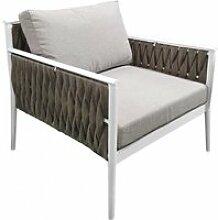 Fauteuil bas de jardin gris textilène tressé -