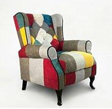 Fauteuil bergère patchwork au design moderne