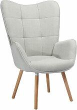 Fauteuil- chaise capitonné- salon couleur gris