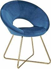 Fauteuil chaise lounge design en velours bleu