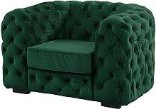 Fauteuil chesterfield STANLEY - Velours vert sapin