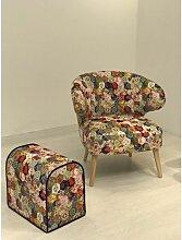 Fauteuil Chic velours patchwork multicolore
