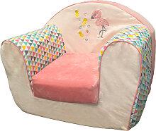 Fauteuil club enfant déhoussable Flamingo Rose