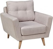 Fauteuil confortable tissu beige pieds bois clair
