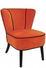 Fauteuil crapaud Orange aspect velours
