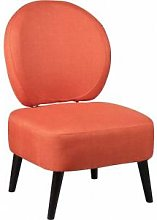 Fauteuil crapaud tissu corail dossier rond