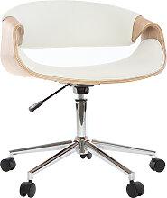 Fauteuil de bureau design blanc et bois clair