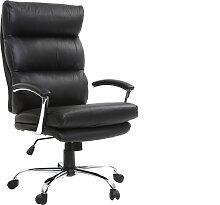 Fauteuil de bureau design cuir noir TILIO - cuir