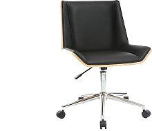 Fauteuil de bureau design noir et bois clair