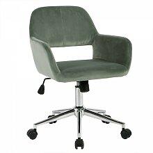 Fauteuil de bureau en velours ajustable - Vert