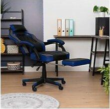 Fauteuil de bureau gamer inclinable noir bleu