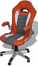 Fauteuil de bureau sport ergonomique orange/gris -