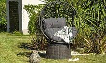Fauteuil de jardin en résine tressée anthracite