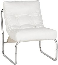 Fauteuil de relaxation blanc design PU et chrome