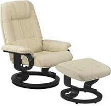 Fauteuil de relaxation cuir beige - excelly n°1 -