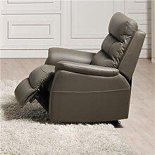 Fauteuil de relaxation électrique gris en cuir