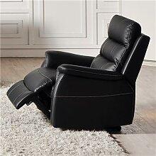 Fauteuil de relaxation électrique noir en cuir