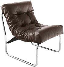 Fauteuil de relaxation marron design PU et chrome