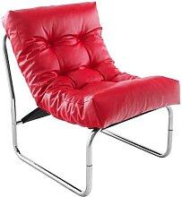 Fauteuil de relaxation rouge design PU et chrome