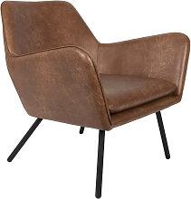 Fauteuil de salon aspect cuir vintage marron