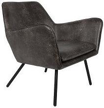 Fauteuil de salon aspect cuir vintage noir