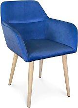 Fauteuil de table scandinave velours bleu