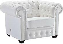 Fauteuil design Chesterfield blanc en cuir -