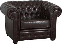 Fauteuil design Chesterfield marron en cuir -