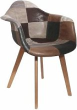 Fauteuil design - effet cuir - patchwork