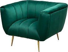 Fauteuil design matelassé velours vert émeraude