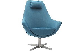 Fauteuil design pivotant en tissu bleu canard et
