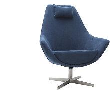 Fauteuil design pivotant en tissu bleu et pied