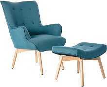 Fauteuil design scandinave et son repose pied bleu
