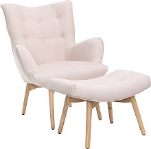 Fauteuil design scandinave et son repose pied rose