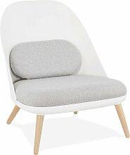 Fauteuil design scandinave large blanc gris et