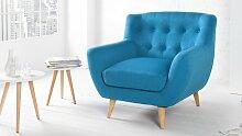 Fauteuil design tissu bleu scandinave - Sverker